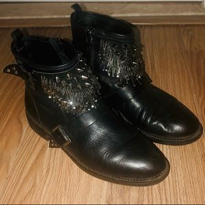 Studded Black Leather Booties Zara Size 10